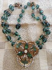 MIRIAM HASKELL SIGNED GREEN GLASS BEADS FLOWER PENDANT NECKLACE