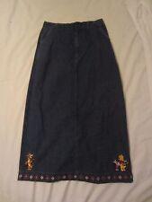 Disney Pooh Embroidered Blue Jean Denim Long Skirt - Women's Small - 0496