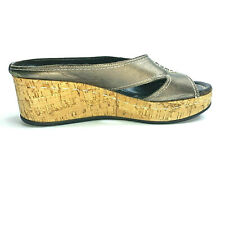 DONALD J PLINER Women's Cork Platform SALINA Slide Leather Sandals Size 8 Green