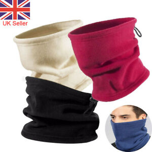 Adults Neck Warmer Fleece Black Cycling Winter Snood Mask Scarf Tube Face Unisex