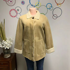 Robert Kitchen Jacket Made In Canada Fur Lined Faux Suede Woman's Sz M