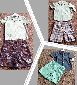 Carter's Boy Set Size 4T 5T Shirt Shorts Palm Tree Airplane Plaid NEW