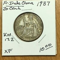 1937 French IndoChina 20 Centimes SILVER Coin, KM# 17.2, XF, ID2311