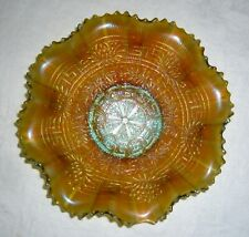 Antique Northwood Aqua Embroidered Mums Carnival Glass Ruffled Bowl Polished Pts