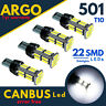 501 Led T10 W5W 22 Smd Xenon White Car Wedge Side Light Bulbs 12v Hid Canbus