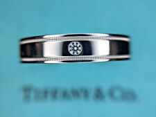 Tiffany & Co. Platinum 4mm Flat Double Milgrain Wedding Band With Diamond