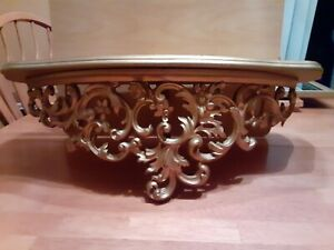 Vintage Wood Syroco Burwood Ornate Gold Wall Shelf 23""