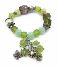 Green Beaded Stretch Bracelet Crystal Silver Plated Dangle Charms Butterfly Sun