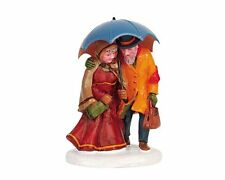 NEW LEMAX Snow Village CATCH THE TRAIN FIGURINE Man Woman Umbrella Accessory NIP