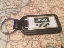 JEEP Quality Black Real Leather Keyring Oblong CHEROKEE WRANGLER RENEGADE GRAND