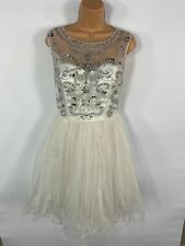 WOMENS QUIZ WHITE FRILL SLEEVELESS EMBELLISHED PROM OCCASION PARTY DRESS UK 14