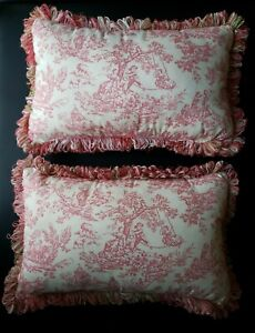 "2 Pink Toile Rectangular Pillows Pink & Green Loop Fringe  12"" X 20"" CUSTOM MADE"
