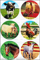Farm Animals Stickers x 6 - Teachers - Farm Party - Cow Horse Sheep Birthday