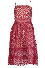 Harlow Embroidered Lace Detail Midi Skater Dress Size 14 Berry Christmas Party