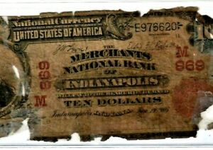 "$10 ""UNITED STATES"" (NATIONAL CURRENCY) $10 ""RED SEAL"" (INDIANAPOLIS"" RED SEAL!!"