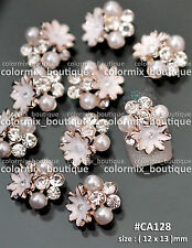 10pcs Gorgeous Nude Flower Alloy Nail Art Deco Glitter Jewelry Rhinestones#CA128