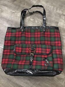 Walt Disney World red green plaid faux leather large purse