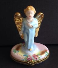 Peint Main Limoges France Blue Angel Trinket Box