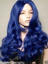 NEW dark blue long Hair Heat Resistant Spiral Curly Cosplay Wig