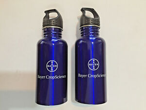 Bayer Advertising Stainless Steel Sports Blue Water Bottle w Wide Mouth 17 Oz