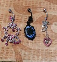 Lot of 3 Belly Button Ring Dangle Navel Set Piercing Body Jewelry Roses Hearts