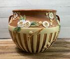 Vintage 1933 Roseville Pottery Cherry Blossom Brown Jardiniere Planter 627-8