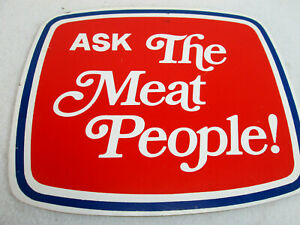 """Vintage 1970's Red Owl Grocery """"ask the meat people!"""" butcher counter store sign"""