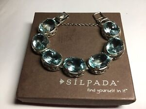 RARE 2011 Silpada Sterling Silver and Aqua Blue Lagoon Bracelet RETIRED B2093