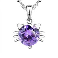 New Fashion Jewelry Womens 925 Sterling Silver Cat Crystal Necklace Pendant