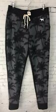 Victoria's Secret Pink Sweat Pants Joggers Black Gray Palm Tree Pants Size S NWT
