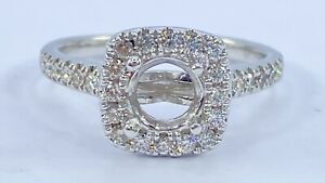 .50 ct DIAMOND halo semi mount solitaire engagement ring 14k white gold (VIDEO)