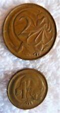 1966 (2) Australia Coins Elizabeth Ii - Marsupial 1-Cent & 2-Cents Bronze Lizard