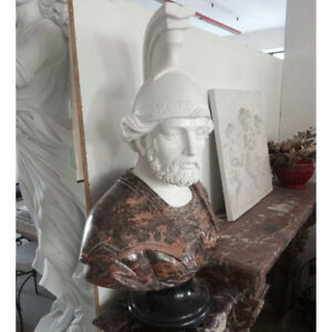 BUSTO GUERRIERO CM. 80 IN MARMO STATUA BUSTI PIETRA 004 Classic Marble Sculpture