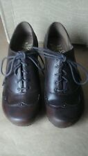 DANSKO NELL WOMENS LEATHER LACE UP OXFORD HEELS BROWN 10M PRE OWNED