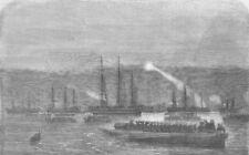 KRONSTADT. Admiral Dundas making night signals, antique print, 1855