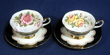 2 Queen's Fine Bone China Ebony Black + Red Yellow Rose Tea Cup and + Saucer Set