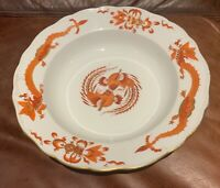 "Set of 6 MEISSEN RED Opulent DRAGON C.1945 Porcelain 9""  SOUP Plate, Saxony"