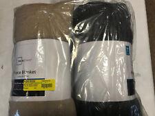 Set of 2 Mainstays Twin Size Fleece Blankets - Gray & Tan Soft NEW