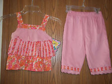 PIcture Me Girls Size 24M Pink Flowered 2 Piece Top Pants Coral Floral