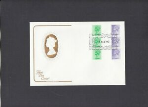 1982 12½p & 15½p vertical coil strips of 3 Cotswold FDC Windsor H/S. Cat £50