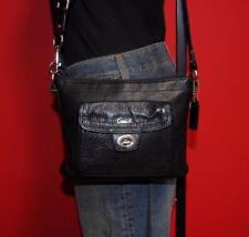 COACH Small Swingpack Turn-Lock Black Leather Cross-body Purse Tote Bag F45012