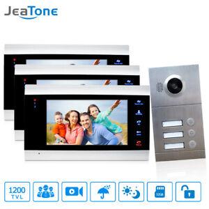 "Video Door Phone Intercom Doorbell Entry System 3 Apartments 7"" Multi Apartment"