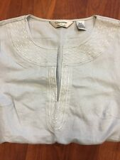 SIGNATURES by Richard Malcolm linen blend tunic with embroidered detail size  M