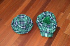St. Patricks Day Green Fedora Party Hat Cap Lucky Lot of 2 Irish Green Plaid