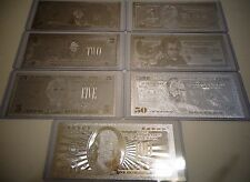 LOT OF 7 _SILVER BILLS $1-2-5-10-20-50-100 DOLLAR SET & EACH IN HARD BILL HOLDER