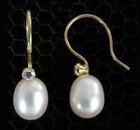 ECHT GOLD *** Ohrringe Ohrhänger 22 mm mit Zirkonia und  Perle 9 mm