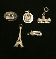 Sterling Silver Charms Landmarks Lot Of 5 Eiffel Tower Rose Down Palace Stadium