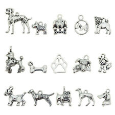30 pcs Retro Silver Alloy Pet Dog Series Mixed Pendant Charms Jewelry DIY Crafts