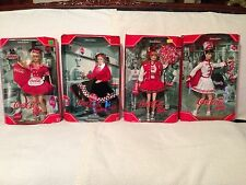 Lot of 4 Coca-Cola Barbies - Waitress - Sweetheart - Cheerleader - Majorette