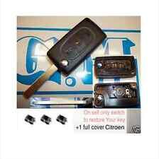 CHIAVE COVER TELECOMANDO CITROEN C3 C4 C8 PORTA BATTERIA TASTO LUCI +3 switch